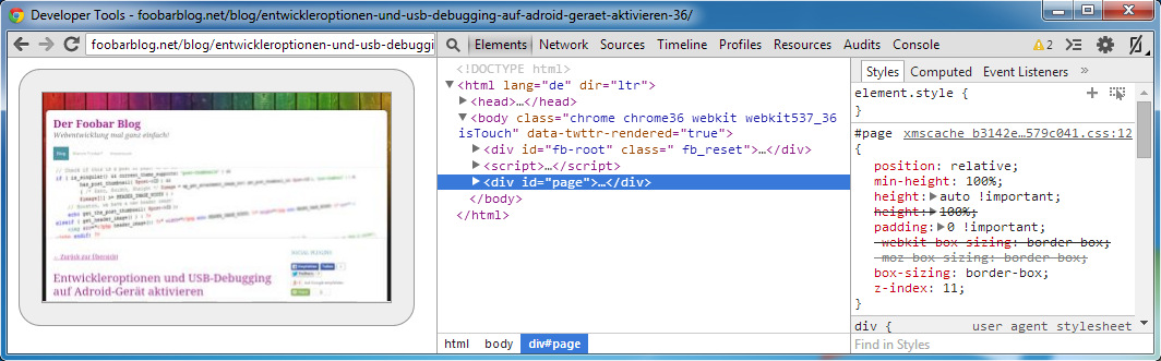 Chrome Android Debugging in Developer Tools mit Screencast